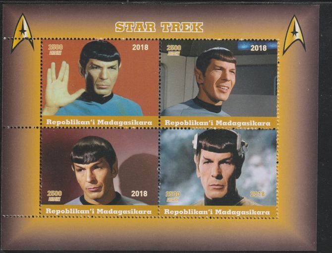Madagascar 2018 Star Trek - Spok perf sheetlet containing 4 values unmounted mint. Note this item is privately produced and is offered purely on its thematic appeal.