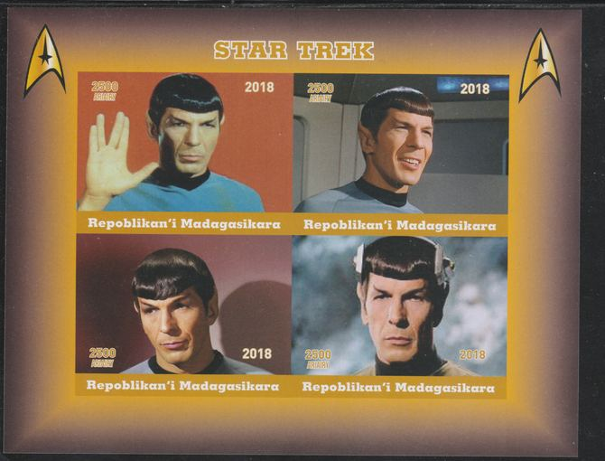 Madagascar 2018 Star Trek - Spok imperf sheetlet containing 4 values unmounted mint. Note this item is privately produced and is offered purely on its thematic appeal.