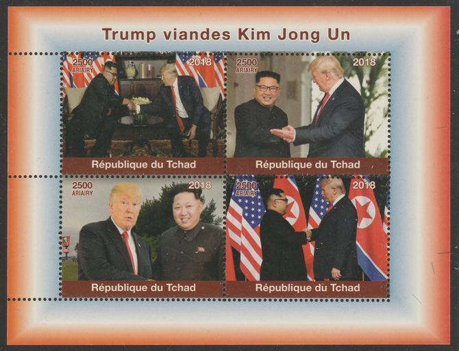 Chad 2018 Trump meets Kim Jong Un perf sheetlet containing 4 values unmounted mint. Note this item is privately produced and is offered purely on its thematic appeal, it has no postal validity