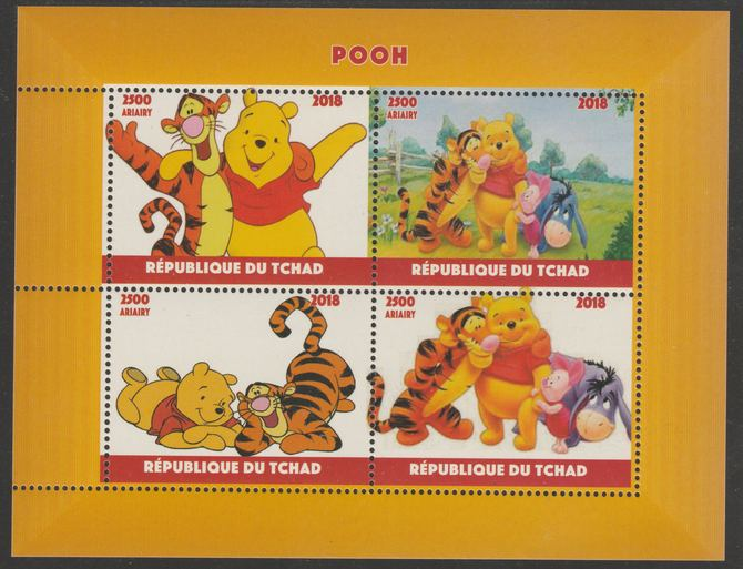 Chad 2018 Pooh Bear perf sheetlet containing 4 values unmounted mint. Note this item is privately produced and is offered purely on its thematic appeal, it has no postal validity, stamps on films, stamps on movies, stamps on cinema, stamps on bears, stamps on cartoons