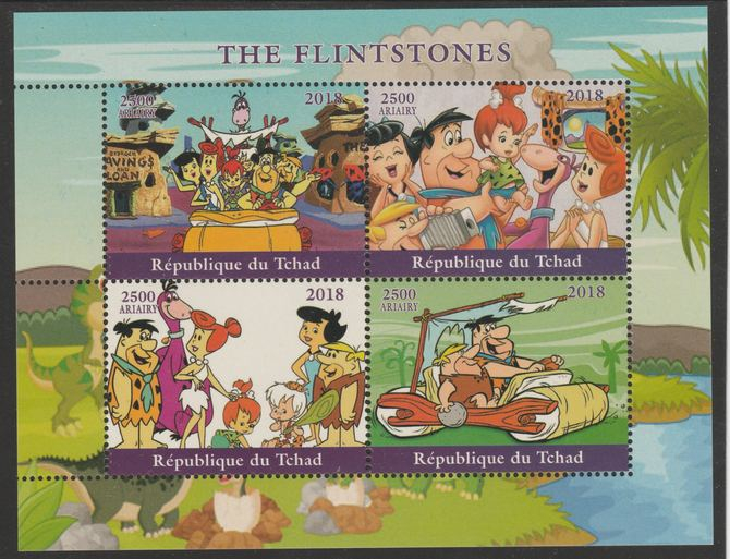 Chad 2018 The Flintstones perf sheetlet containing 4 values unmounted mint. Note this item is privately produced and is offered purely on its thematic appeal, it has no postal validity