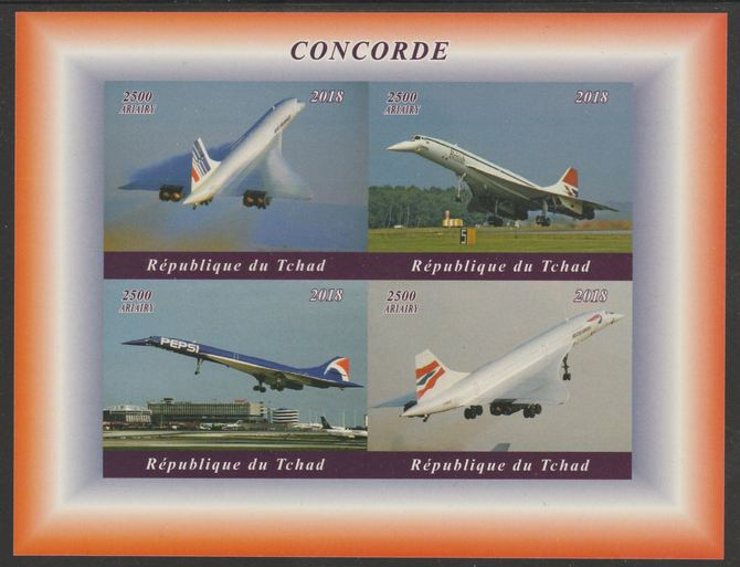 Chad 2018 Concorde imperf sheetlet containing 4 values unmounted mint. Note this item is privately produced and is offered purely on its thematic appeal, it has no postal validity
