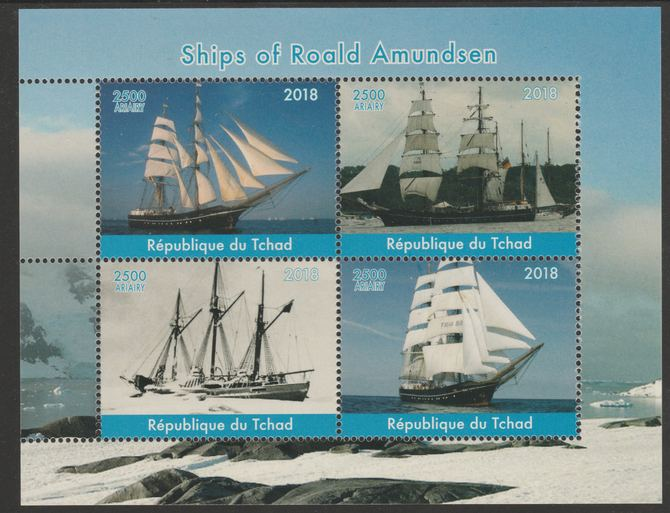 Chad 2018 Ships of Roald Amundsen perf sheetlet containing 4 values unmounted mint. Note this item is privately produced and is offered purely on its thematic appeal, it has no postal validity