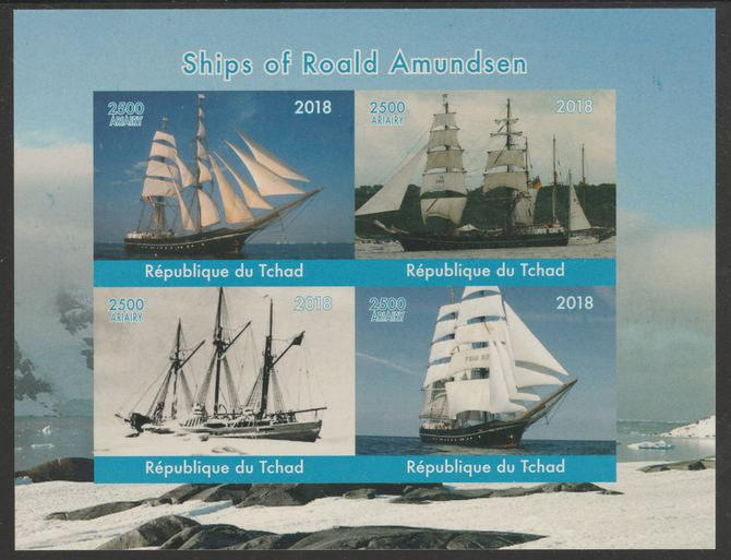 Chad 2018 Ships of Roald Amundsen imperf sheetlet containing 4 values unmounted mint. Note this item is privately produced and is offered purely on its thematic appeal, it has no postal validity