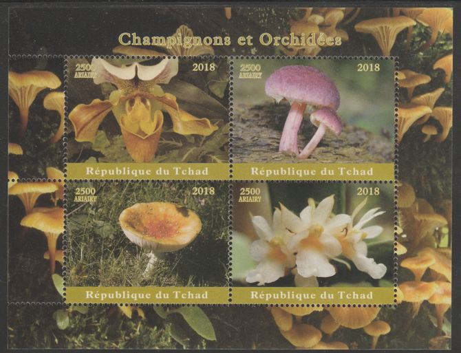 Chad 2018 Orchids & Mushrooms perf sheetlet containing 4 values unmounted mint. Note this item is privately produced and is offered purely on its thematic appeal, it has no postal validity