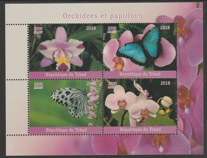 Chad 2018 Orchids & Butterflies perf sheetlet containing 4 values unmounted mint. Note this item is privately produced and is offered purely on its thematic appeal, it has no postal validity