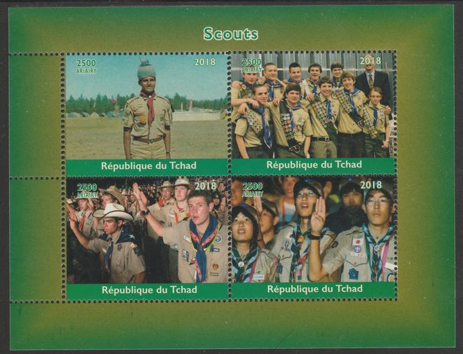 Chad 2018 Scouts perf sheetlet containing 4 values unmounted mint. Note this item is privately produced and is offered purely on its thematic appeal.