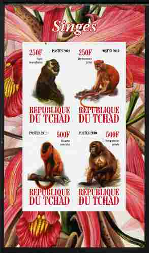 Chad 2010 Monkeys imperf sheetlet containing 4 values unmounted mint