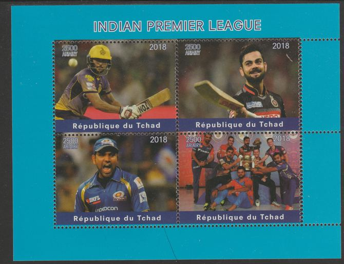 Chad 2018 Cricket - Indian Premier League perf sheetlet containing 4 values unmounted mint. Note this item is privately produced and is offered purely on its thematic appeal, it has no postal validity