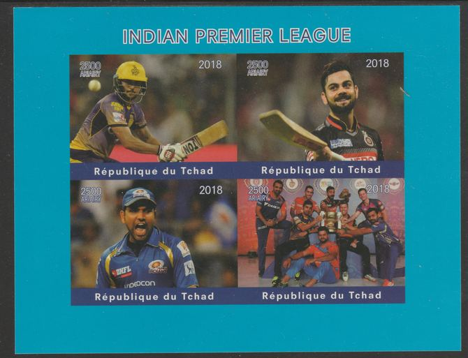 Chad 2018 Cricket - Indian Premier League imperf sheetlet containing 4 values unmounted mint. Note this item is privately produced and is offered purely on its thematic a...