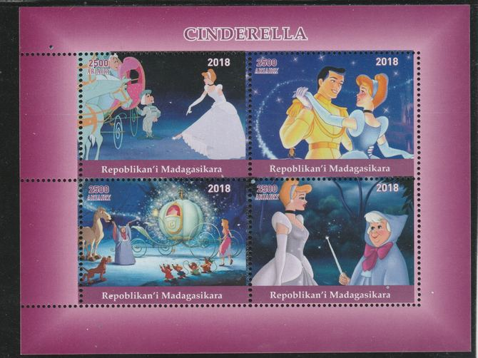 Madagascar 2018 Cinderella perf sheetlet containing 4 values unmounted mint. Note this item is privately produced and is offered purely on its thematic appeal.
