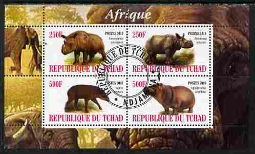 Chad 2010 African Fauna #1 perf sheetlet containing 4 values fine cto used