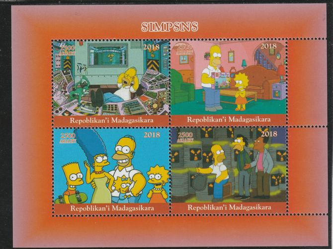 Madagascar 2018 The Simpsons perf sheetlet containing 4 values unmounted mint. Note this item is privately produced and is offered purely on its thematic appeal.