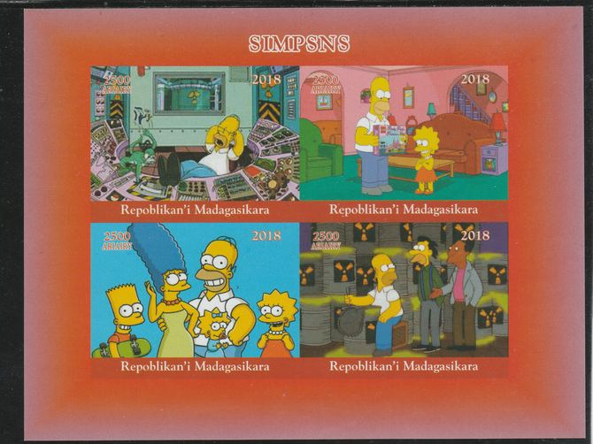 Madagascar 2018 The Simpsons imperf sheetlet containing 4 values unmounted mint. Note this item is privately produced and is offered purely on its thematic appeal.