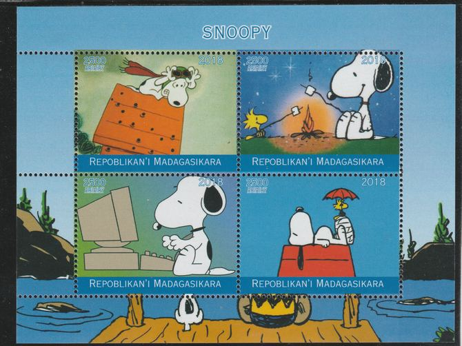 Madagascar 2018 Snoopy perf sheetlet containing 4 values unmounted mint. Note this item is privately produced and is offered purely on its thematic appeal.