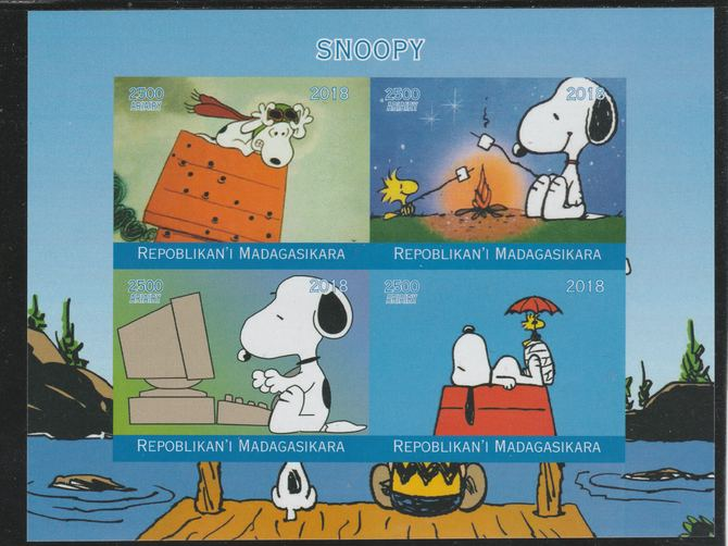 Madagascar 2018 Snoopy imperf sheetlet containing 4 values unmounted mint. Note this item is privately produced and is offered purely on its thematic appeal.