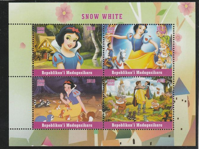 Madagascar 2018 Snow White perf sheetlet containing 4 values unmounted mint. Note this item is privately produced and is offered purely on its thematic appeal.