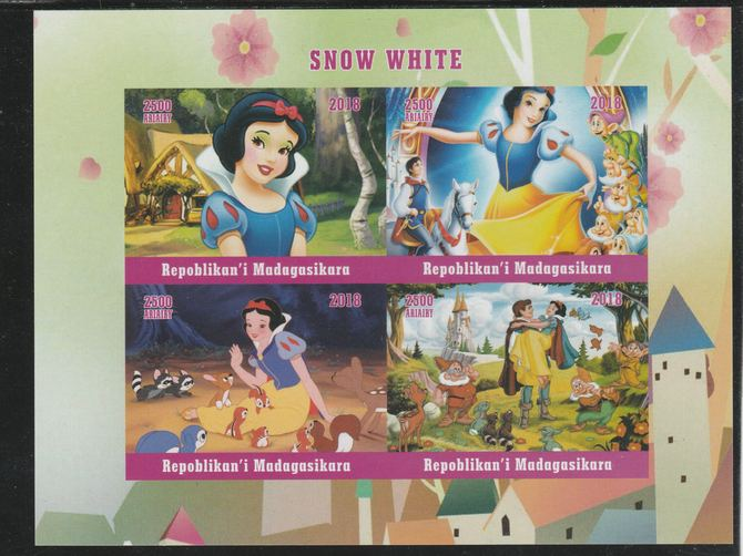 Madagascar 2018 Snow White imperf sheetlet containing 4 values unmounted mint. Note this item is privately produced and is offered purely on its thematic appeal.