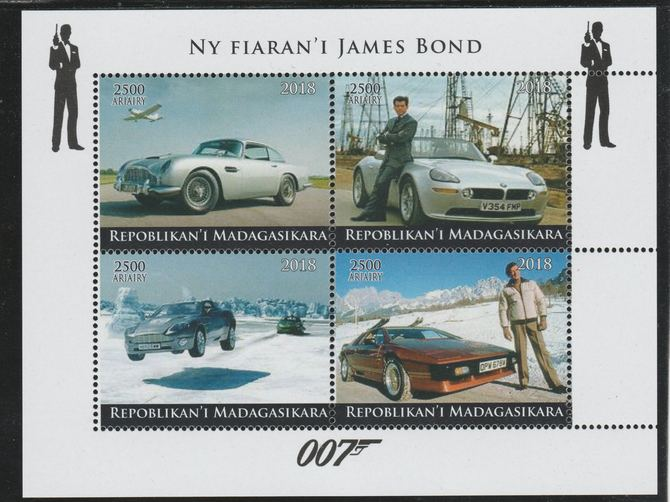 Madagascar 2018 James Bond's Cars perf sheetlet containing 4 values unmounted mint. Note this item is privately produced and is offered purely on its thematic appeal.