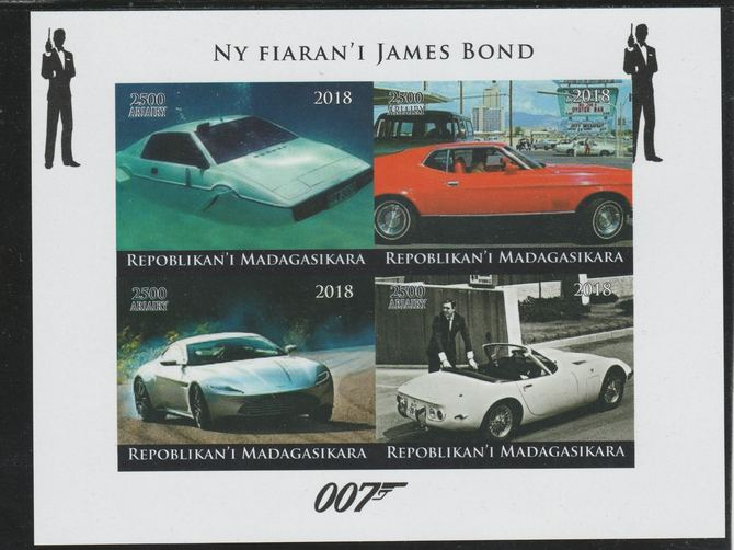 Madagascar 2018 James Bond's Cars imperf sheetlet containing 4 values unmounted mint. Note this item is privately produced and is offered purely on its thematic appeal.