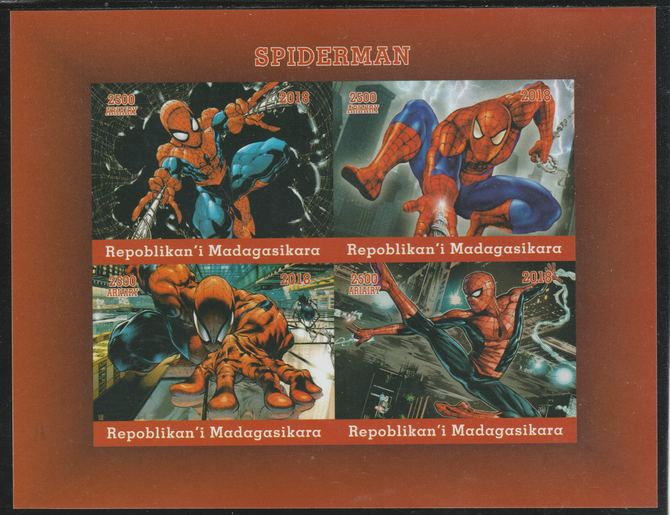 Madagascar 2018 Spiderman imperf sheetlet containing 4 values unmounted mint. Note this item is privately produced and is offered purely on its thematic appeal.