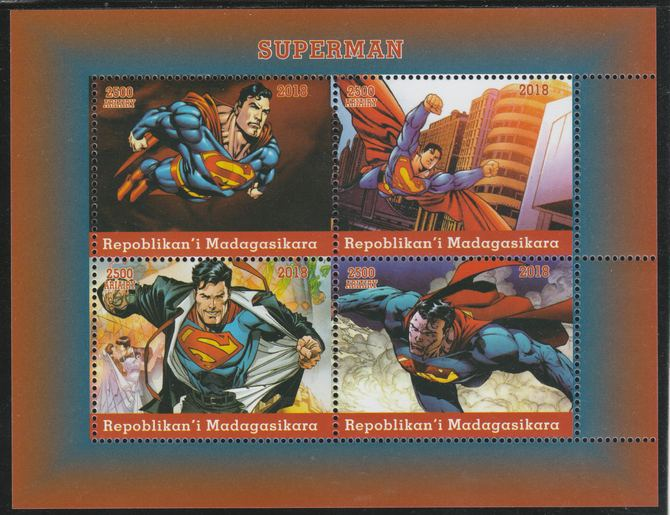 Madagascar 2018 Superman perf sheetlet containing 4 values unmounted mint. Note this item is privately produced and is offered purely on its thematic appeal.