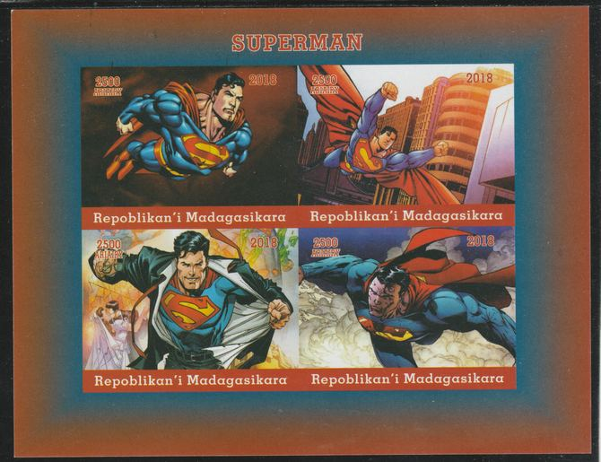 Madagascar 2018 Superman imperf sheetlet containing 4 values unmounted mint. Note this item is privately produced and is offered purely on its thematic appeal.
