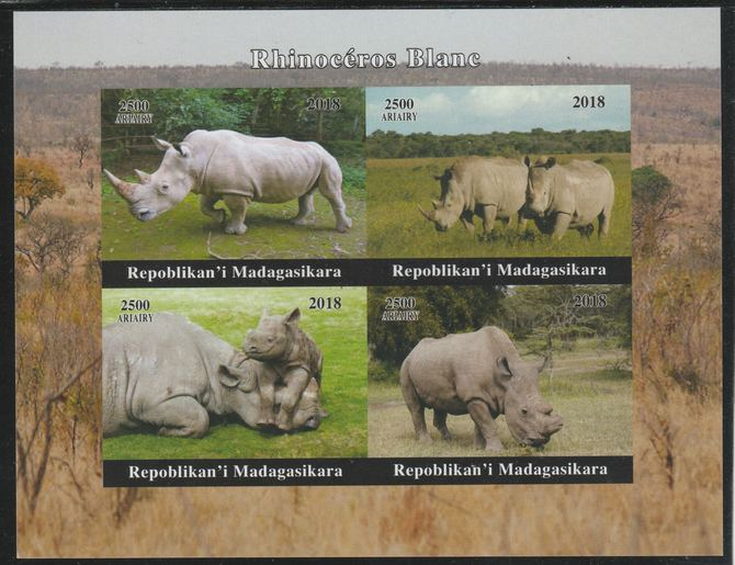 Madagascar 2018 Rhinos imperf sheetlet containing 4 values unmounted mint. Note this item is privately produced and is offered purely on its thematic appeal.