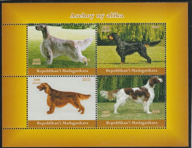 Madagascar 2018 Dogs perf sheetlet containing 4 values unmounted mint. Note this item is privately produced and is offered purely on its thematic appeal.