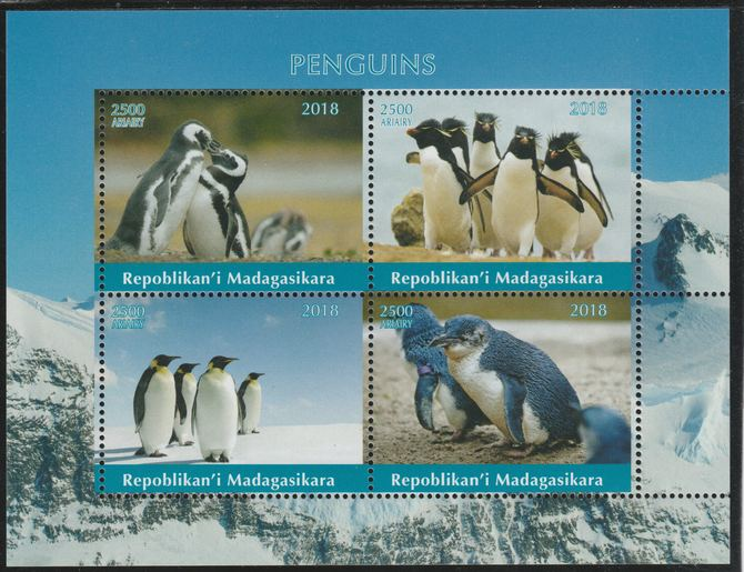 Madagascar 2018 Penguins perf sheetlet containing 4 values unmounted mint. Note this item is privately produced and is offered purely on its thematic appeal.