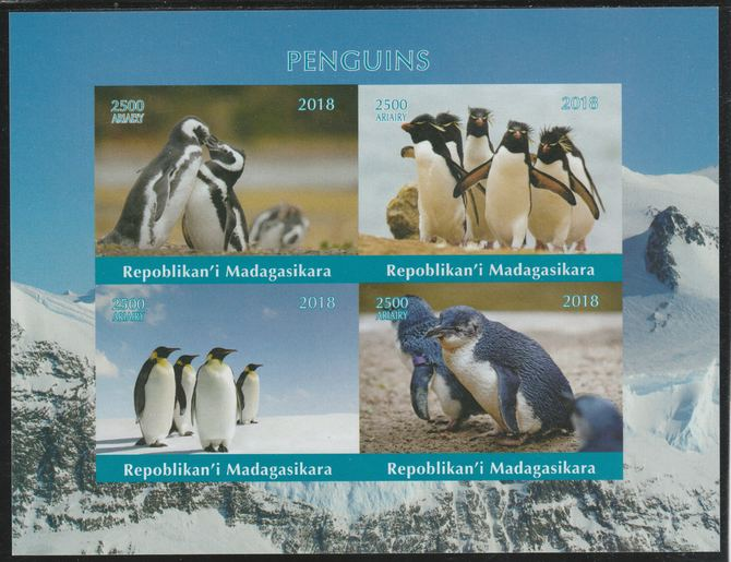Madagascar 2018 Penguins imperf sheetlet containing 4 values unmounted mint. Note this item is privately produced and is offered purely on its thematic appeal.