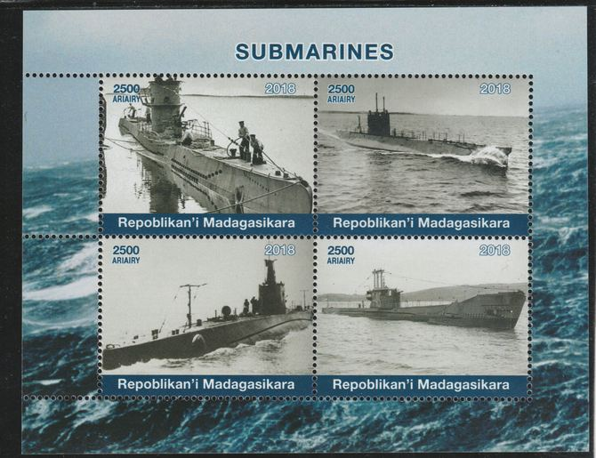 Madagascar 2018 Submarines perf sheetlet containing 4 values unmounted mint. Note this item is privately produced and is offered purely on its thematic appeal.