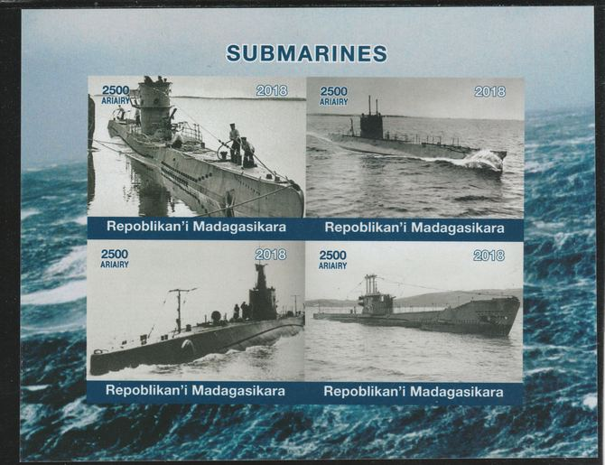 Madagascar 2018 Submarines imperf sheetlet containing 4 values unmounted mint. Note this item is privately produced and is offered purely on its thematic appeal.