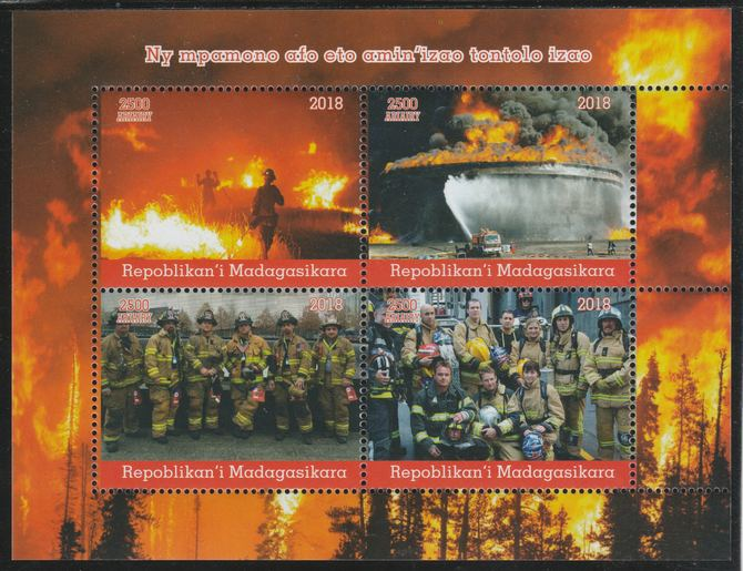 Madagascar 2018 Fire Fighters perf sheetlet containing 4 values unmounted mint. Note this item is privately produced and is offered purely on its thematic appeal.
