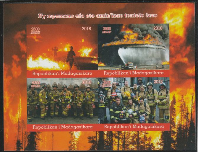 Madagascar 2018 Fire Fighters imperf sheetlet containing 4 values unmounted mint. Note this item is privately produced and is offered purely on its thematic appeal.
