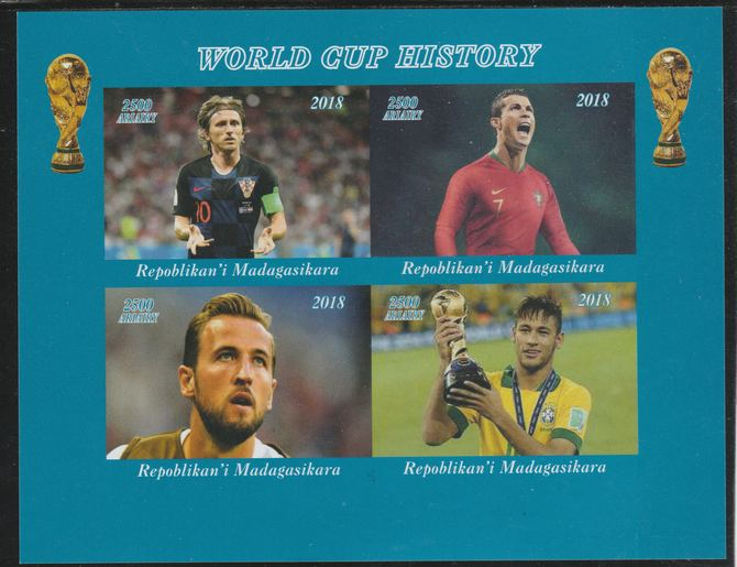 Madagascar 2018 Football - World Cup History imperf sheetlet containing 4 values unmounted mint. Note this item is privately produced and is offered purely on its thematic appeal.