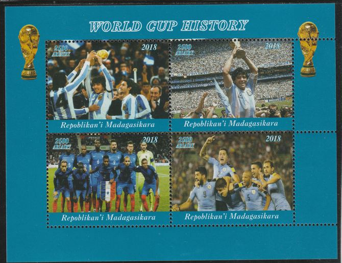 Madagascar 2018 Football - World Cup History perf sheetlet containing 4 values unmounted mint. Note this item is privately produced and is offered purely on its thematic appeal.