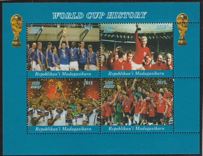 Madagascar 2018 Football - World Cup History perf sheetlet containing 4 values unmounted mint. Note this item is privately produced and is offered purely on its thematic appeal., stamps on football