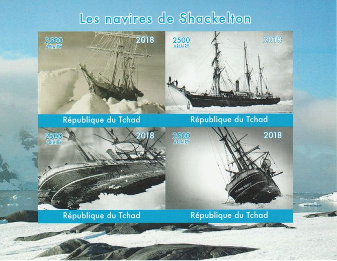 Madagascar 2018 Shackleton's Ships imperf sheetlet containing 4 values unmounted mint. Note this item is privately produced and is offered purely on its thematic appeal.