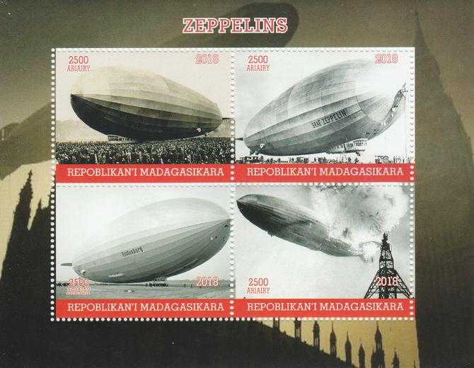 Madagascar 2018 Zeppelins perf sheetlet containing 4 values unmounted mint. Note this item is privately produced and is offered purely on its thematic appeal.