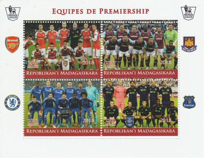 Madagascar 2018 Premier League Football Teams #1 perf sheetlet containing 4 values unmounted mint. Note this item is privately produced and is offered purely on its thematic appeal.