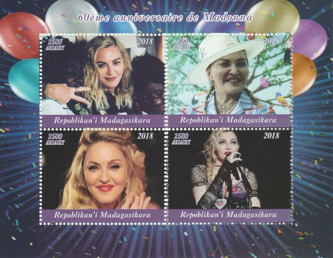 Madagascar 2018 Madonna's 60th Birthday perf sheetlet containing 4 values unmounted mint. Note this item is privately produced and is offered purely on its thematic appeal.