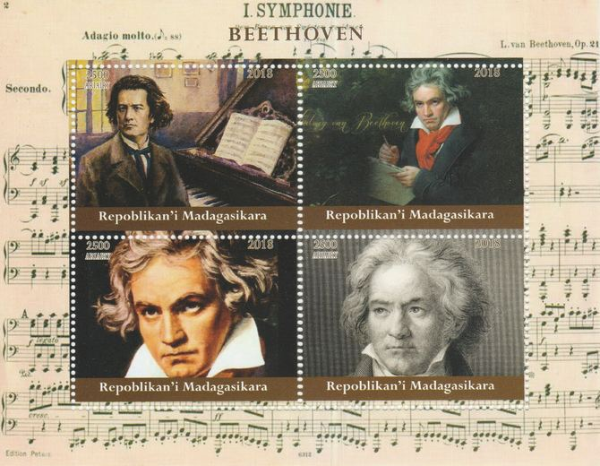 Madagascar 2018 Beethoven perf sheetlet containing 4 values unmounted mint. Note this item is privately produced and is offered purely on its thematic appeal.