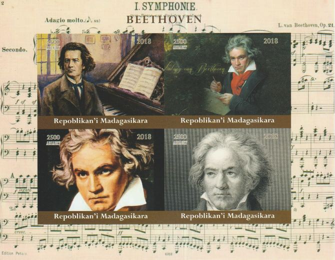 Madagascar 2018 Beethoven imperf sheetlet containing 4 values unmounted mint. Note this item is privately produced and is offered purely on its thematic appeal.
