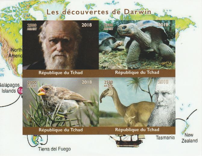 Madagascar 2018 Charles Darwin imperf sheetlet containing 4 values unmounted mint. Note this item is privately produced and is offered purely on its thematic appeal.