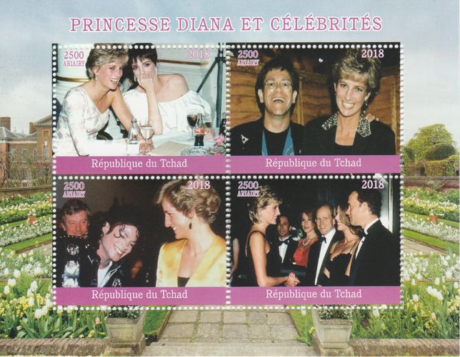 Madagascar 2018 Princess Diana with Celebrities perf sheetlet containing 4 values unmounted mint. Note this item is privately produced and is offered purely on its thematic appeal.