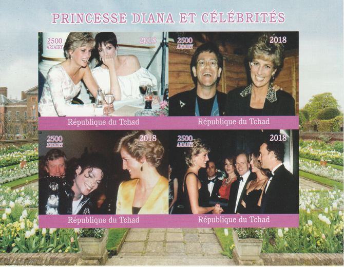 Madagascar 2018 Princess Diana with Celebrities imperf sheetlet containing 4 values unmounted mint. Note this item is privately produced and is offered purely on its thematic appeal.