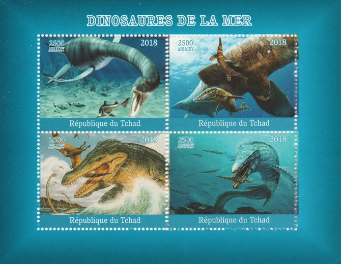 Madagascar 2018 Marine Dinosaurs perf sheetlet containing 4 values unmounted mint. Note this item is privately produced and is offered purely on its thematic appeal.