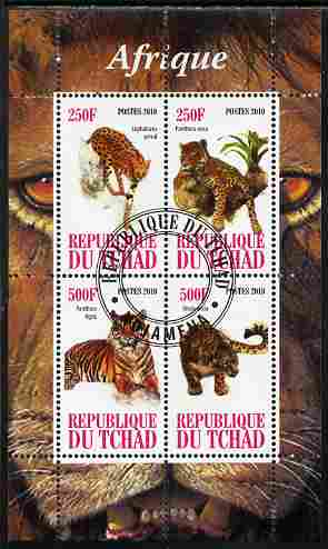 Chad 2010 African Fauna #3 perf sheetlet containing 4 values fine cto used
