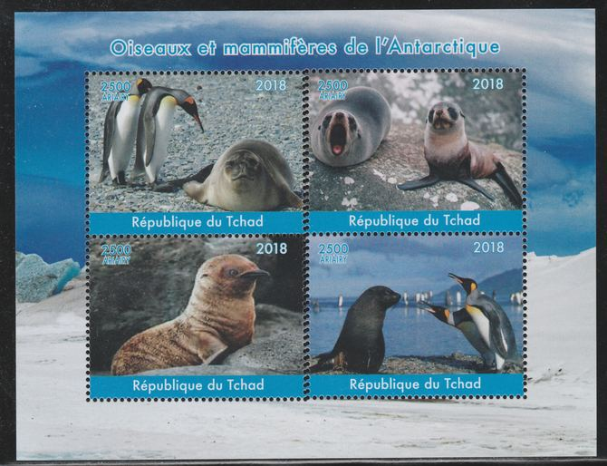 Chad 2018 Polar Birds & Animals perf sheetlet containing 4 values unmounted mint. Note this item is privately produced and is offered purely on its thematic appeal.